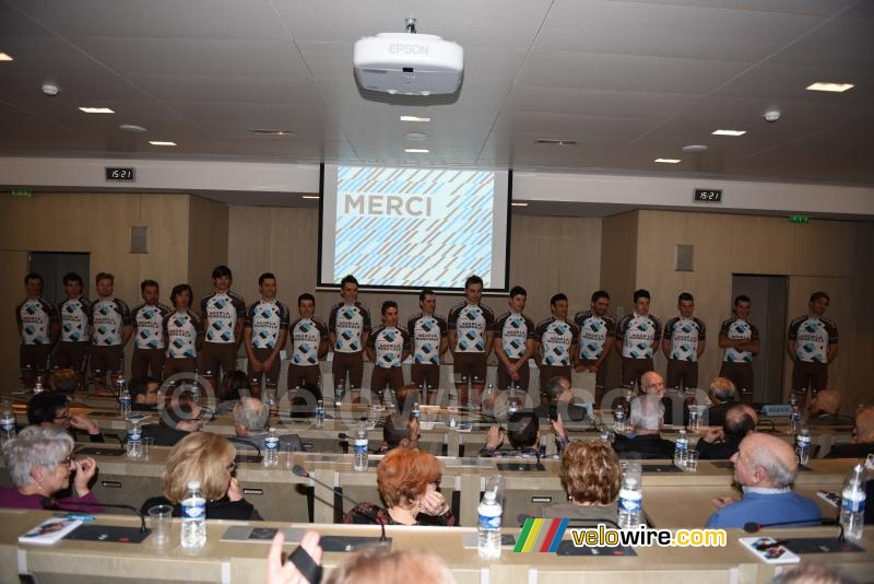 The riders of the AG2R La Mondiale cycling team at the presentation