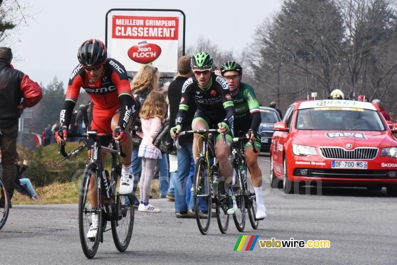 Philippe Gilbert, Florian Vachon & Thomas Voeckler on top of the Col de la Bosse