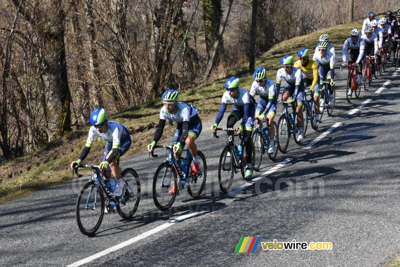 The Orica-GreenEDGE team leads the peloton on the col du Beau Louis