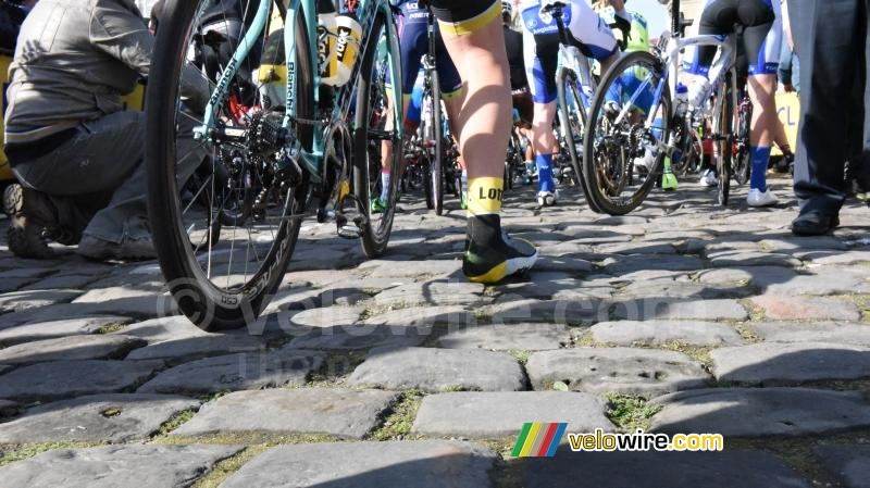 The riders get ready for kilometers of cobble stones!