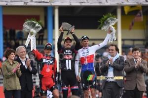 Le podium de Paris-Roubaix 2015 avec John Degenkolb en vainqueur