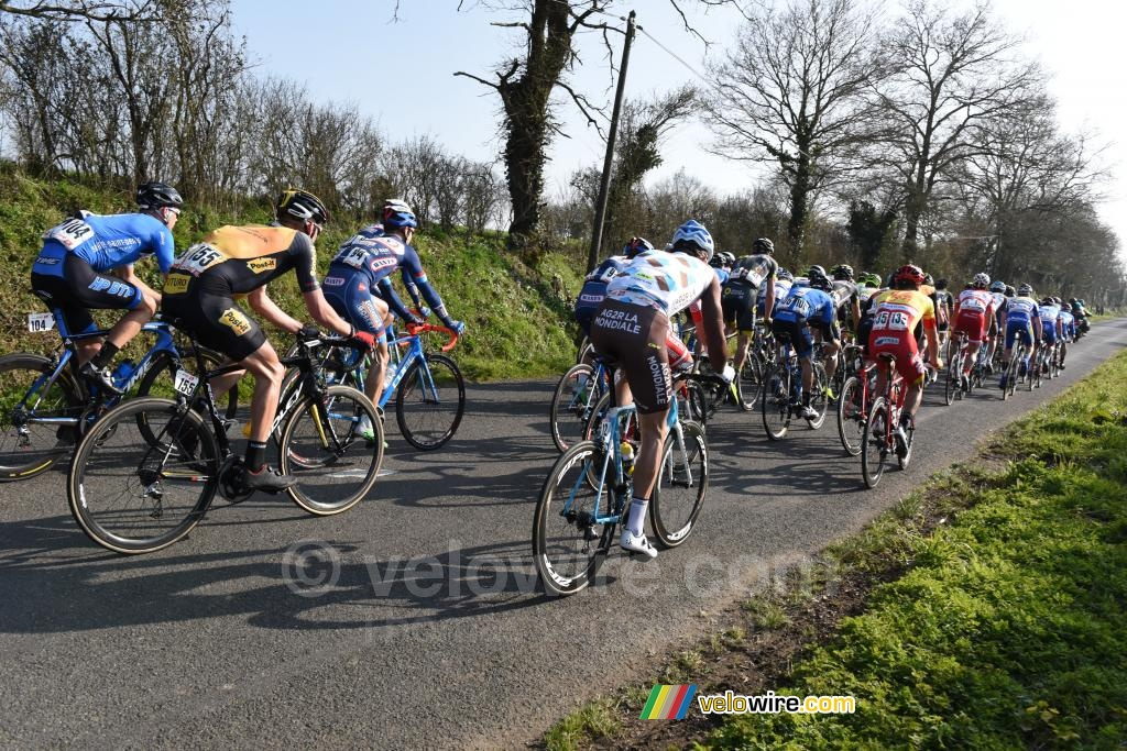 The first peloton back together in the Côte de Roussay