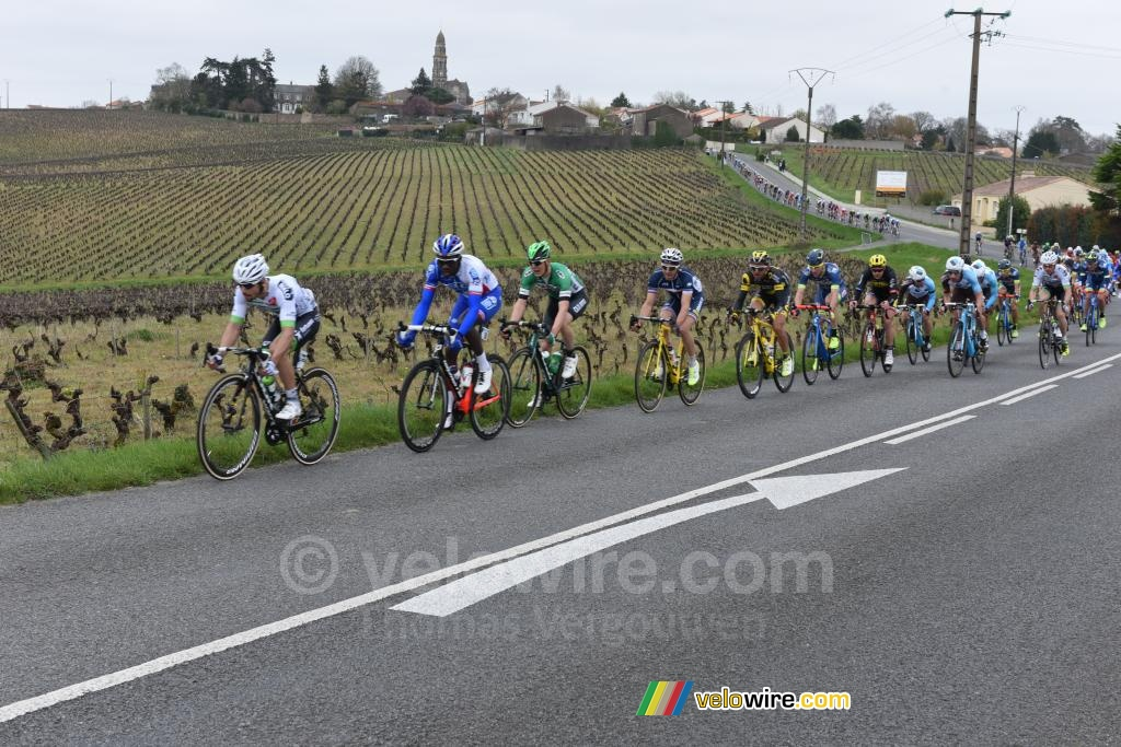 The peloton in a long single line just outside Saint Fiacre