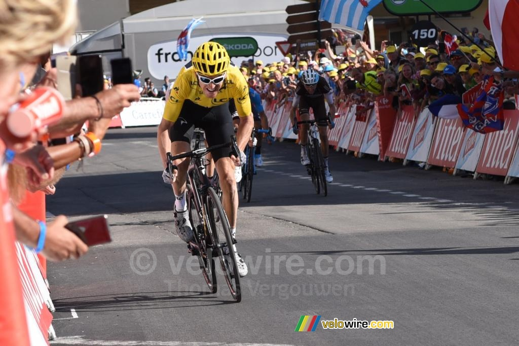 Geraint Thomas (Team Sky) wins the stage at Alpe d'Huez