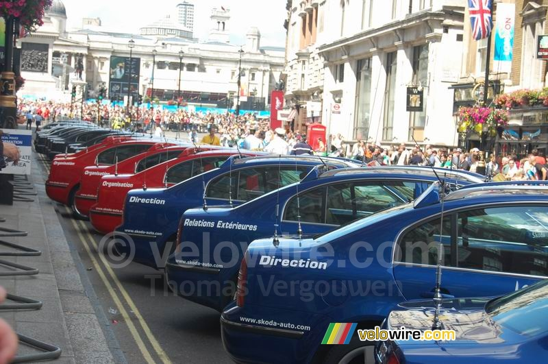 Some of the cars of the Tour organisation in London