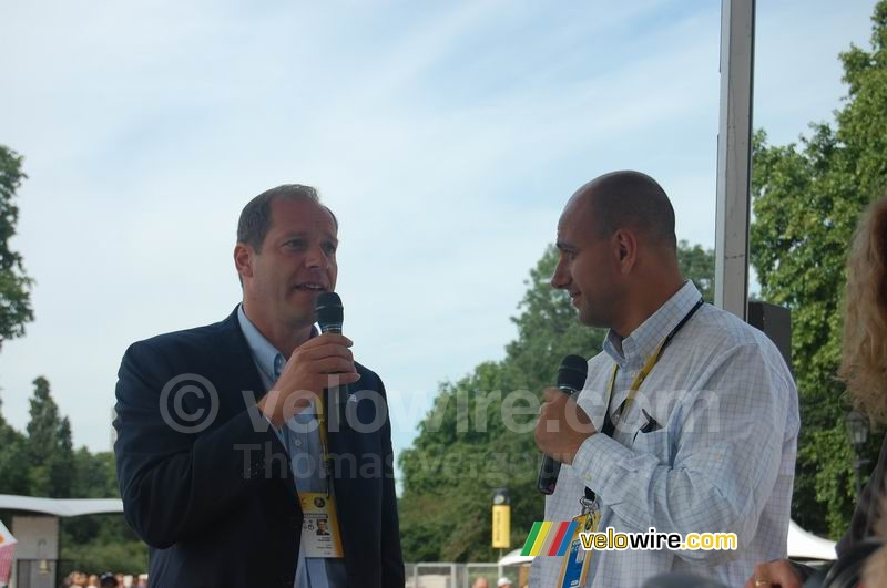 Christian Prudhomme and the Village Départ speaker