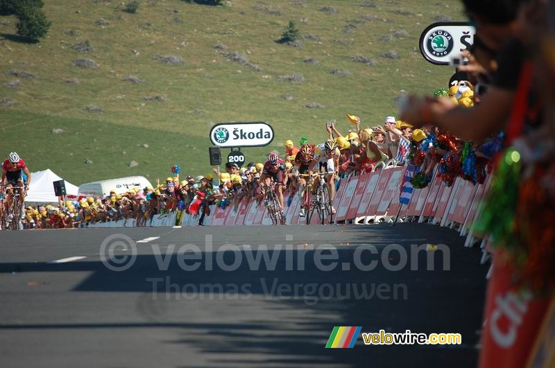 Riccardo Ricco (Saunier Duval-Scott), Alejandro Valverde (Caisse d'Epargne), Cadel Evans (Silence-Lotto) & Frank Schleck (CSC Saxo Bank) at the finish on Super-Besse