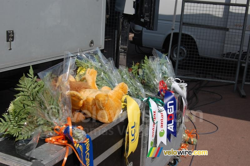 The LCL lion for the yellow jersey winner and the flowers