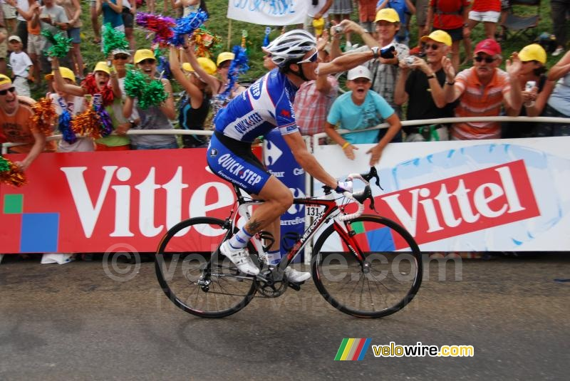 Sylvain Chavanel (Quick Step) celebrates the stage win