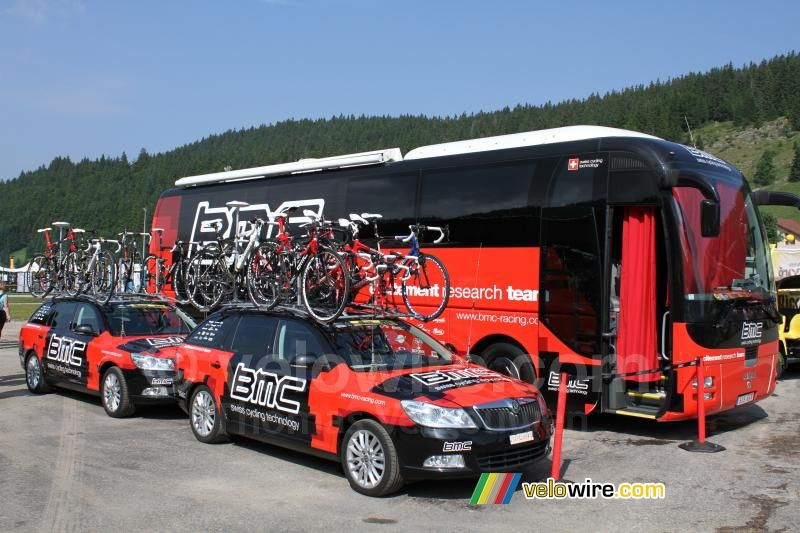 De auto's en bus van BMC Racing Team