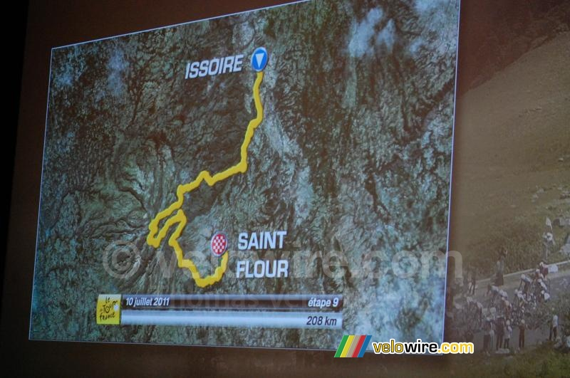 The Issoire > Saint-Flour stage on the map